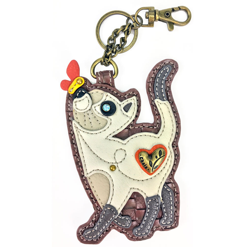 Chala Decorative Purse Charm, Key fob, coin purse - (White Slim Cat) - Animal-Bags.com