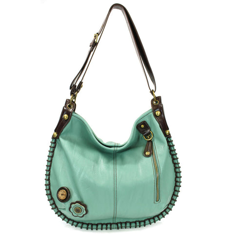Large Charming Convertible Hobo - Blue,Teal, Orange + Free Key fob/ Coin Purse - Animal-Bags.com