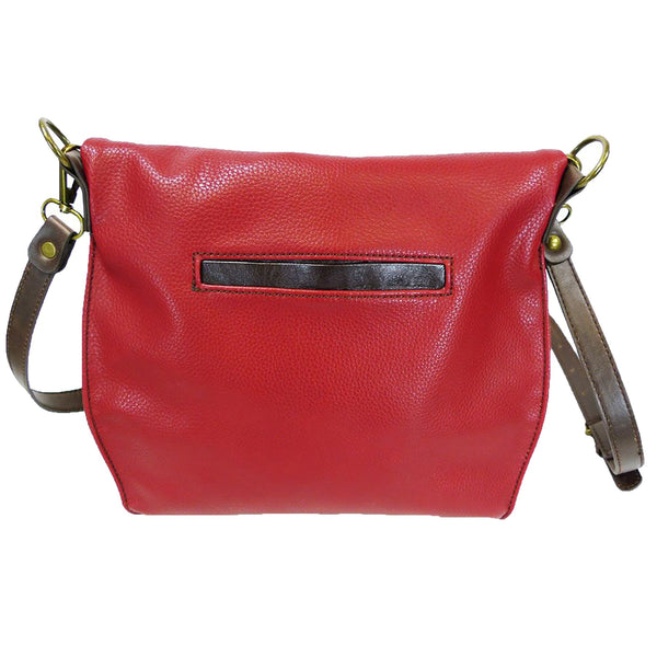 Chala Charming Crossbody Bag with Zipper Flap Top and Metal Chain - Burgundy - Dog