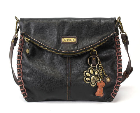 Chala Charming Crossbody Bag With Flap Top | Flap and Zipper Black Cross-Body Purse or Shoulder Handbag with Metal Chain - Paw Print