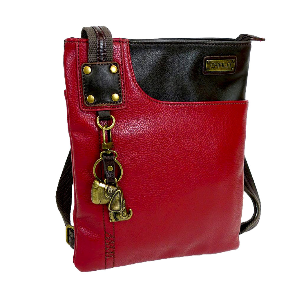 Chala Crossbody Swing Bag - Two Tone Pu Leather Cross-Body Purse or Shoulder Handbag in Very Supple Faux Leather (Dog Burgundy-Black)