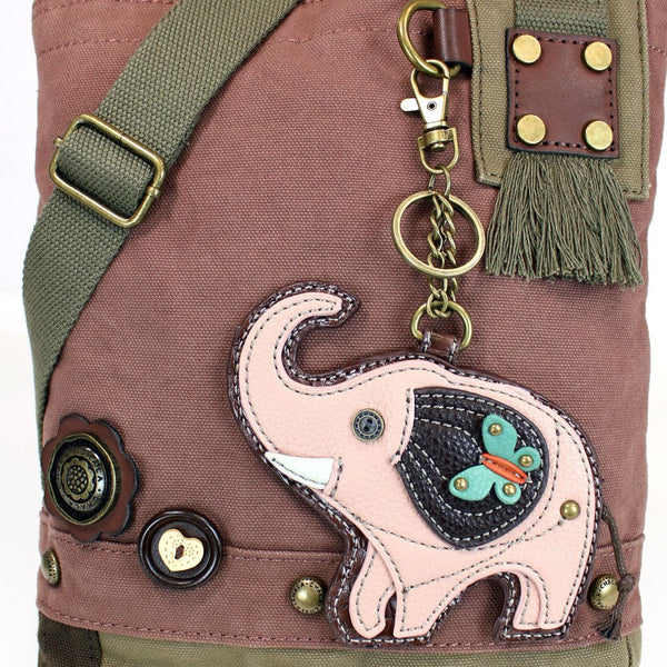 Chala Handbags Patchwork Crossbody Canvas Mauve messenger bags with Pink Elephant Coin Purse