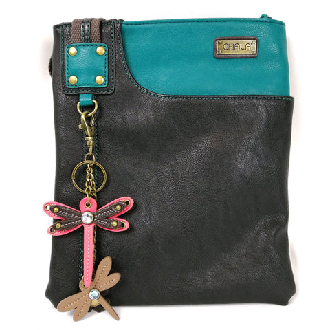 Chala Crossbody SWING Bag Vegan Leather with Detachable Mini Key fob (Teal- 609 Pink Dragonfly)