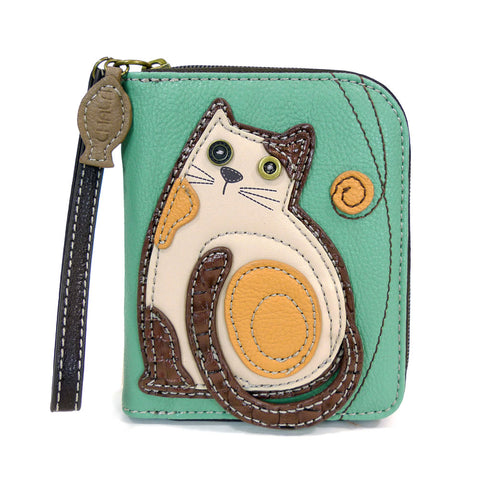 Charming Chala Deluxe Zip Wallet- (Teal LazZy Cat) - Animal-Bags.com