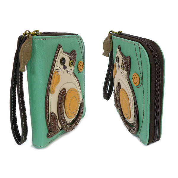 CHALA Handbags- Zip Around Wallet, Wristlet, 8 Credit Card Slots Sturdy Coin Purse( Teal Cat )