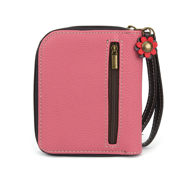 Chala Deluxe Zip around Wallet with 8 Credit Cards Slots - (Pink Butterfly)