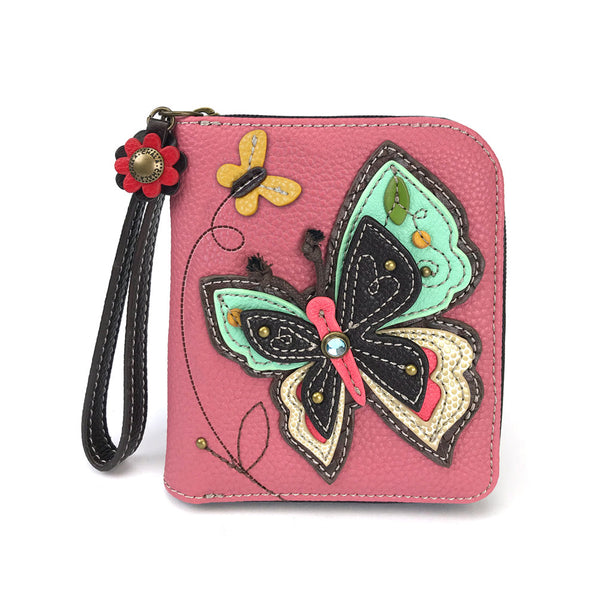 Chala Deluxe Zip around Wallet with 8 Credit Cards Slots - (Pink Butterfly) - Animal-Bags.com
