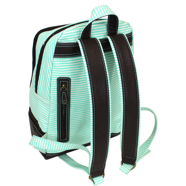 Chala Backpack Style Purse Teal Green Striped(Teal Sea Turtle) - Animal-Bags.com
