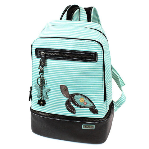 Chala Backpack Style Purse Teal Green Striped(Teal Sea Turtle)