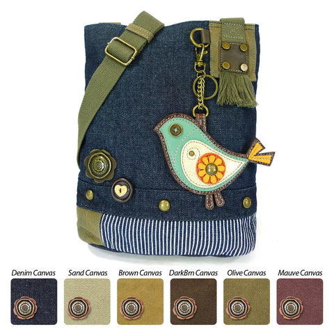 Chala Patch Crossbody Bag + Faux leather Coin Purse ( Green Bird)
