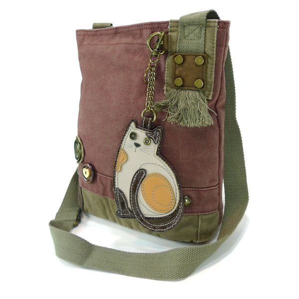 Chala Patch Crossbody Bag+Coin Purse (LaZzy Cat) - Animal-Bags.com