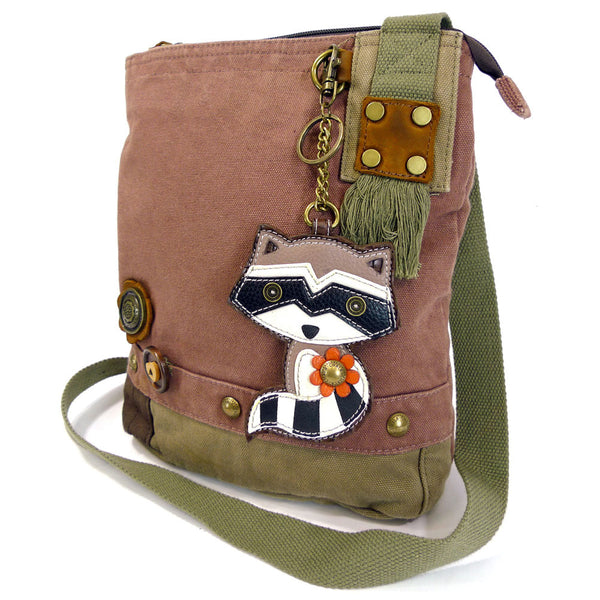 Chala Patch Crossbody Bag + Detachable Key fob Bundle (Raccoon) - Animal-Bags.com