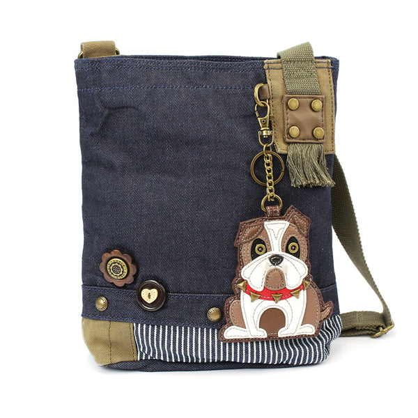 Chala Patch Crossbody Bag+Coin Purse (Bull Dog) - Animal-Bags.com