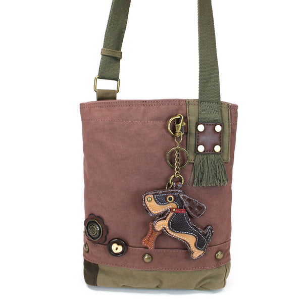 Chala Patch Crossbody Bag with Faux Leather Coin Purse (Weiner hound dog) - Animal-Bags.com