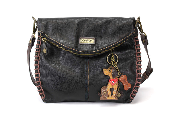 Chala Charming Crossbody Bag with Zipper Flap Top and Metal Chain - Black (Mini Dog)