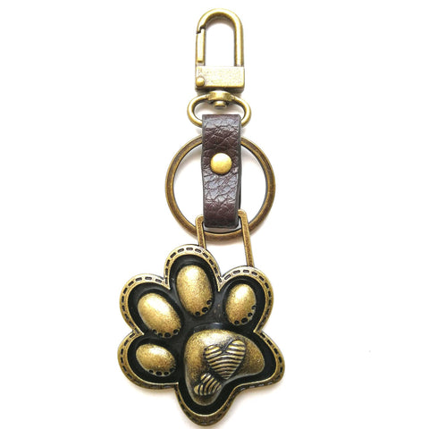 Chala Bronze Mini Metal Purse Charm, Key Fob, Animal Keychain - M605 Paw