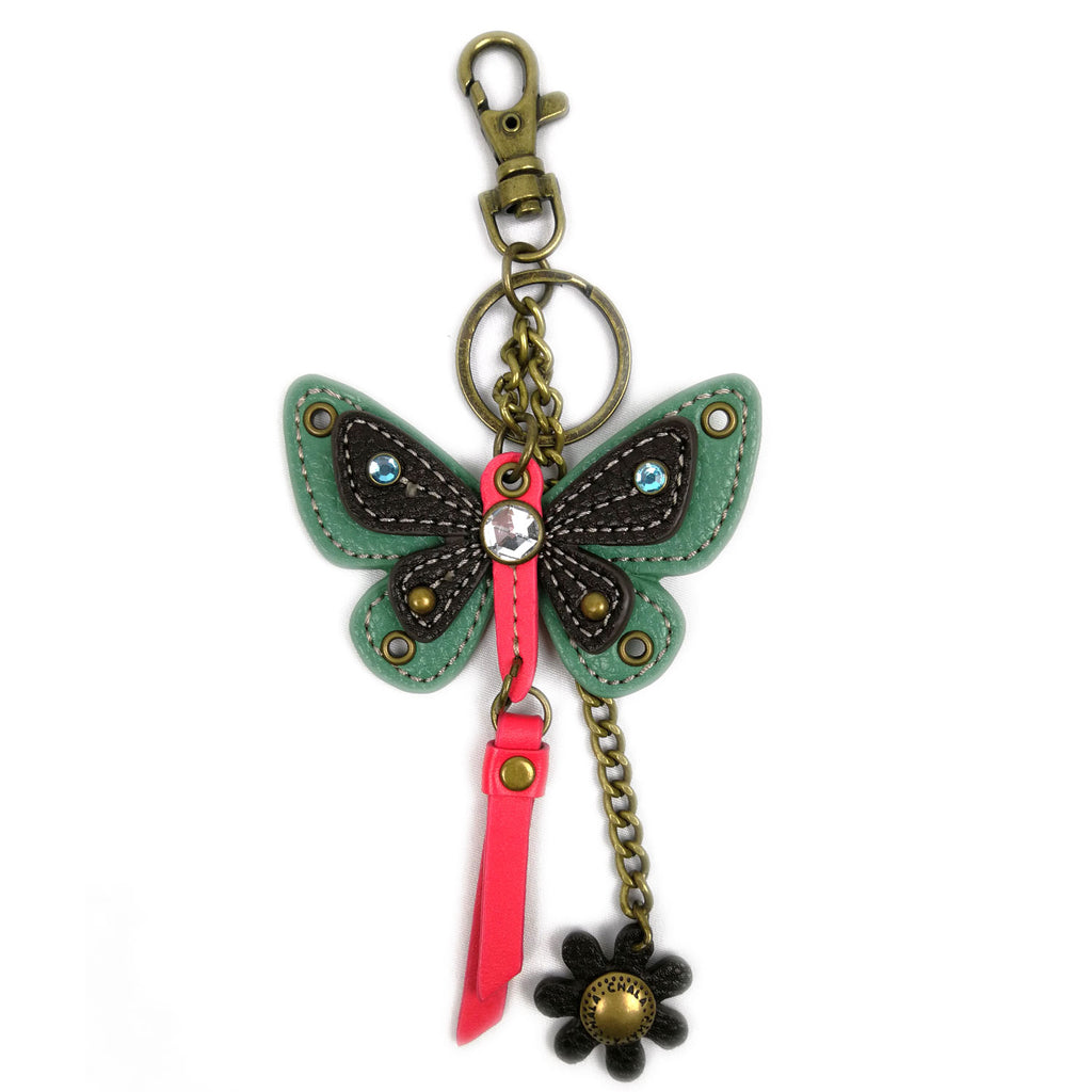 Chala Decorative Mini keychain, Purse Charm, Key fob - Teal Butterfly