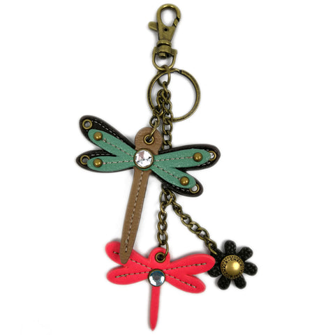 Chala Decorative Mini keychain, Purse Charm, Key fob - Teal Dragonfly