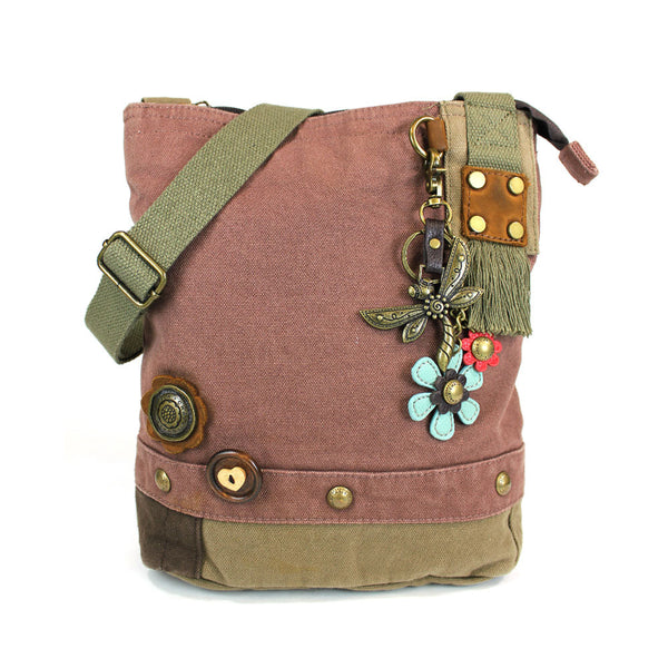 Chala Patch Crossbody Bag (6 colors option) + Detachable Metal Keychain (Dragonf - Animal-Bags.com