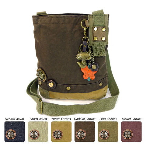 Chala Patch Crossbody Messenger Bag (6 colors option) + Detachable Metal Keychain (Fox) - Animal-Bags.com