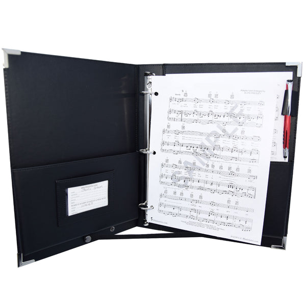 "MSP PU Leather Sheet Music Holder | 9.5 x 12"" - 3 Rings Choir Folder with Hand Strap for Musician - Medium Size (MSP-210)"