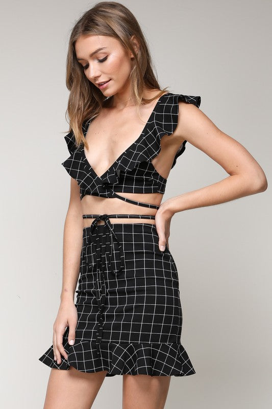 CHECKER RUFFLE WAIST TIE TOP AND MINI RUFFLED SKIRT SET
