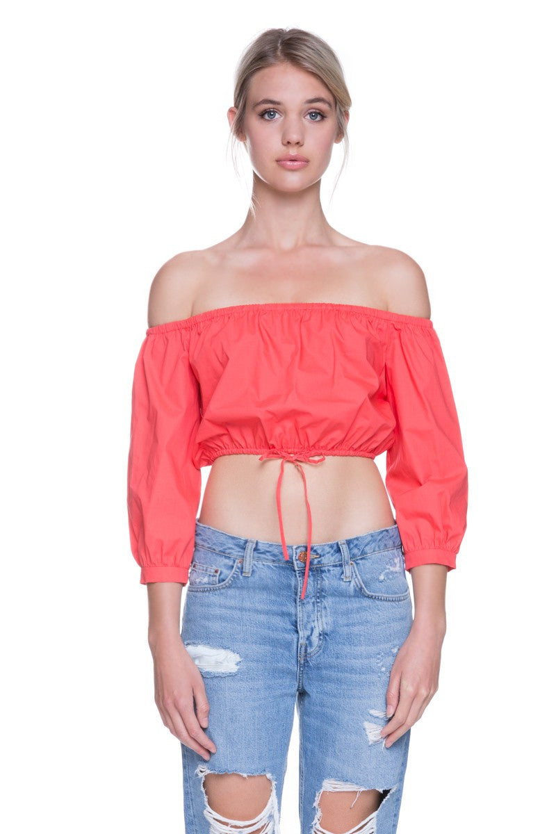OFF THE SHOULDER FRONT WAIST STRING TIE TOP