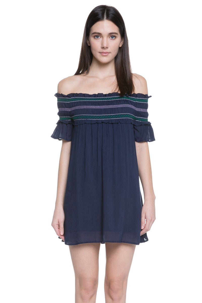 SMOCKING OFF SHOULDER DRESS