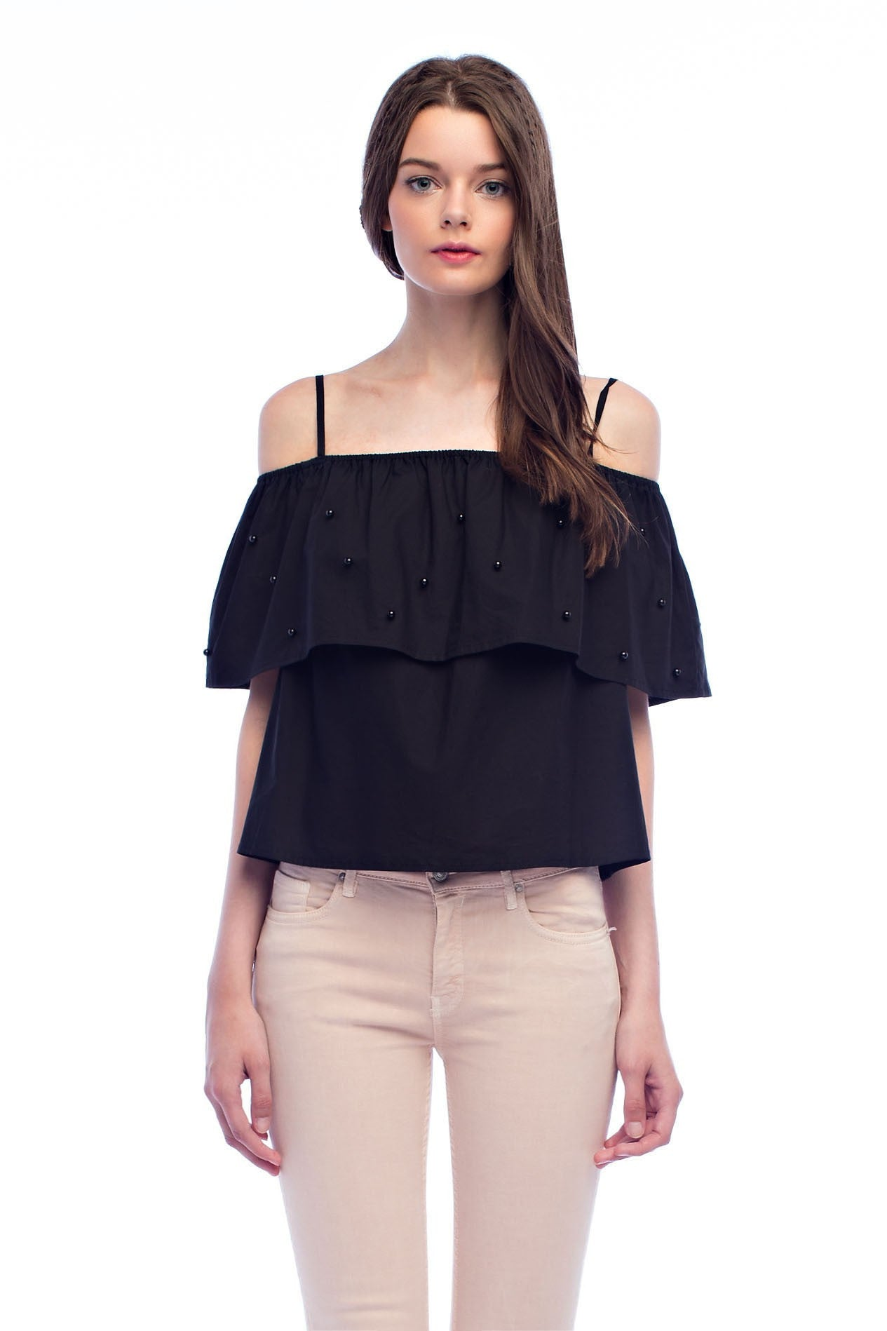 Cold shoulder top with pearl embellishments