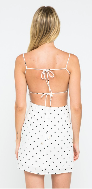 Polka-Dot Print Sleeve-Less Mini Dress