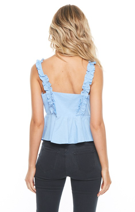 TOP WITH RUFFLE STRAP AND OPEN FRONT- KNOT DETAIL