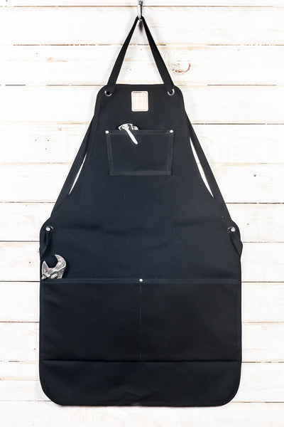 black waxed canvas utility bib apron