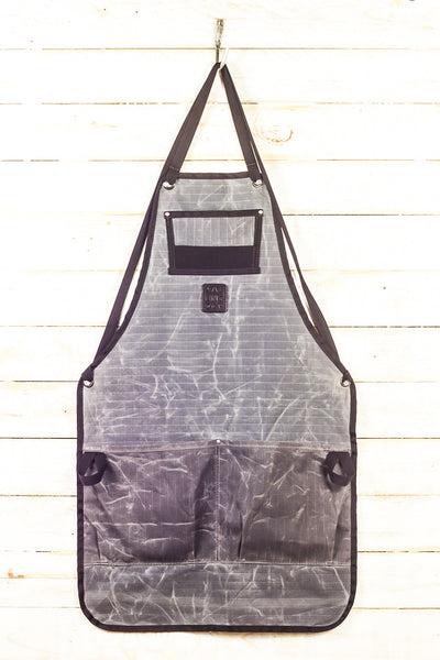 grey waxed canvas bike mechanic bib apron