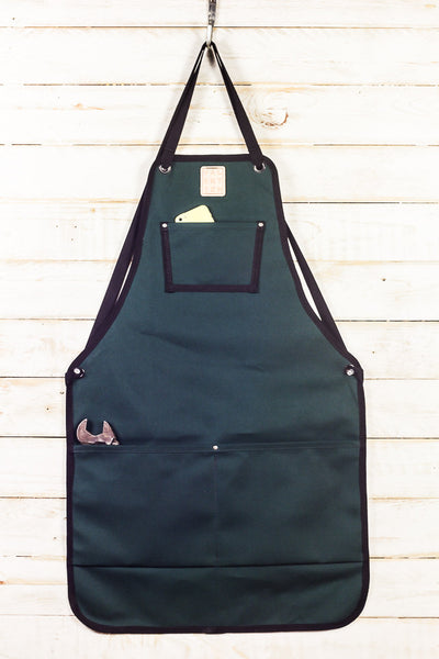 juniper green canvas utility bib apron