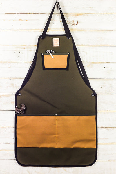 olive green and gold canvas utility bib apron