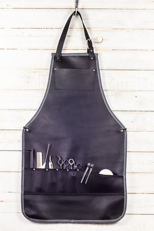 black leather stylist bib apron