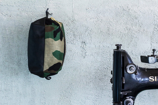 black leather and camo cordura dopp kit w/ personalization