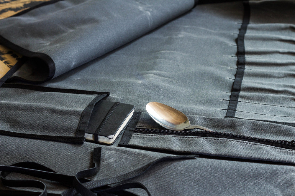 Knife Roll | Charcoal Waxed Canvas - Valentich