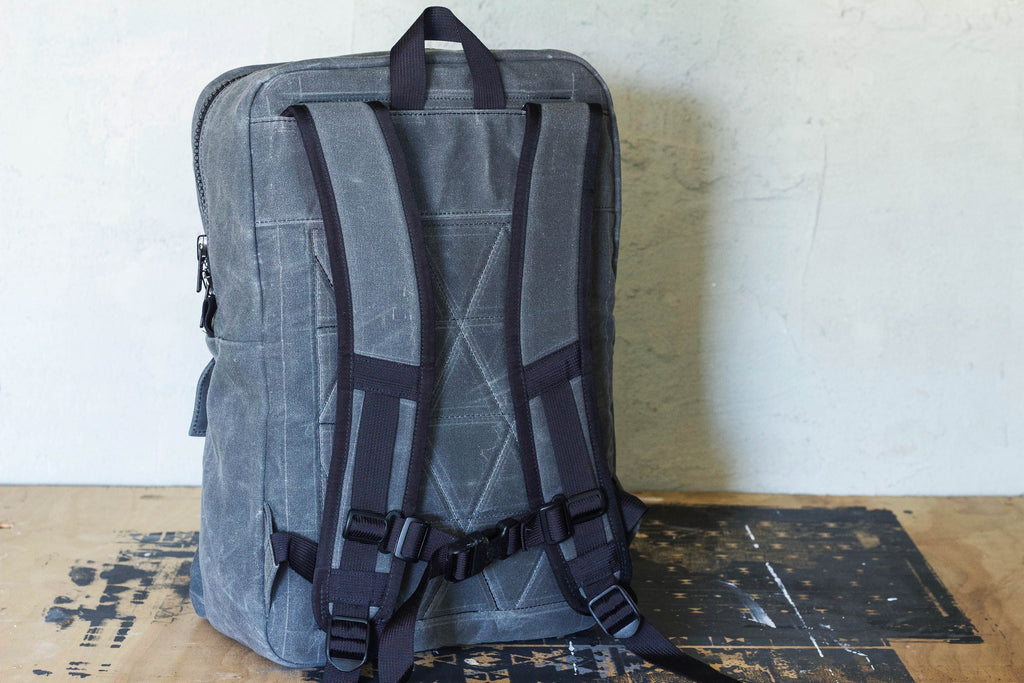 charcoal waxed canvas backpack w/ laptop sleeve