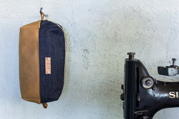 Selvedge Denim and Leather Dopp Kit w/ personalization