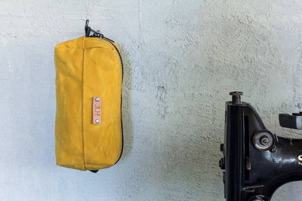 yellow waxed canvas dopp kit w/ personalization