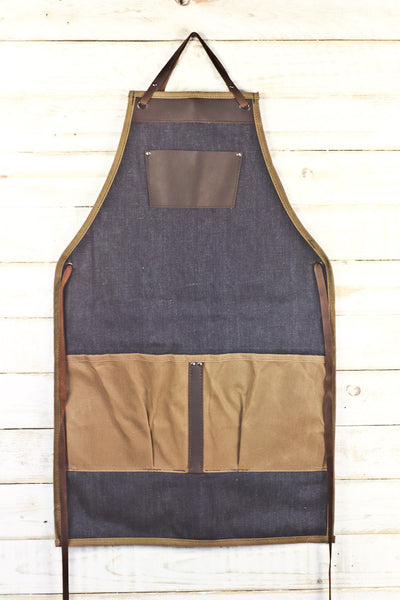denim, waxed canvas, and leather utility bib apron