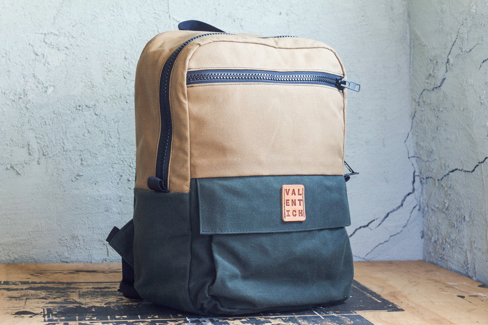 field tan and forest green waxed canvas zipper backpack