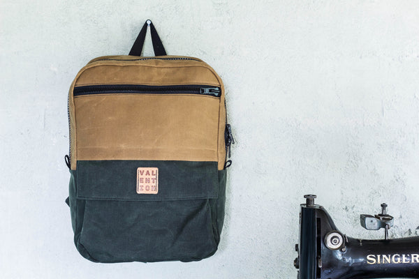 Waxed Backpack | Field Tan + Forest - Valentich