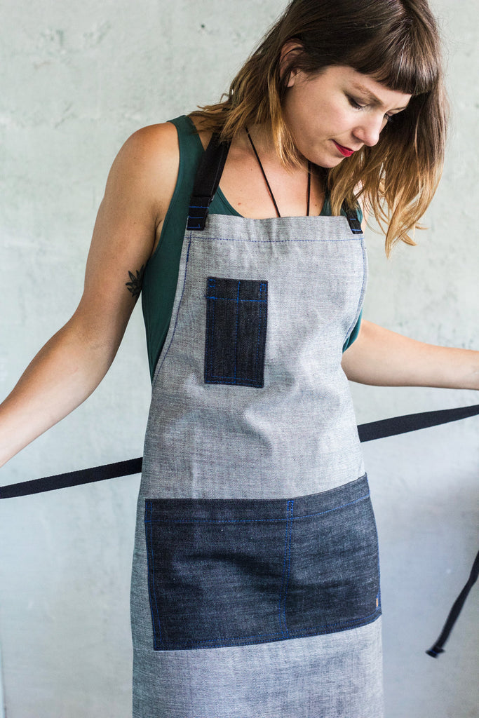 Oui Chef Apron -- Grey + Blue Denim - Valentich