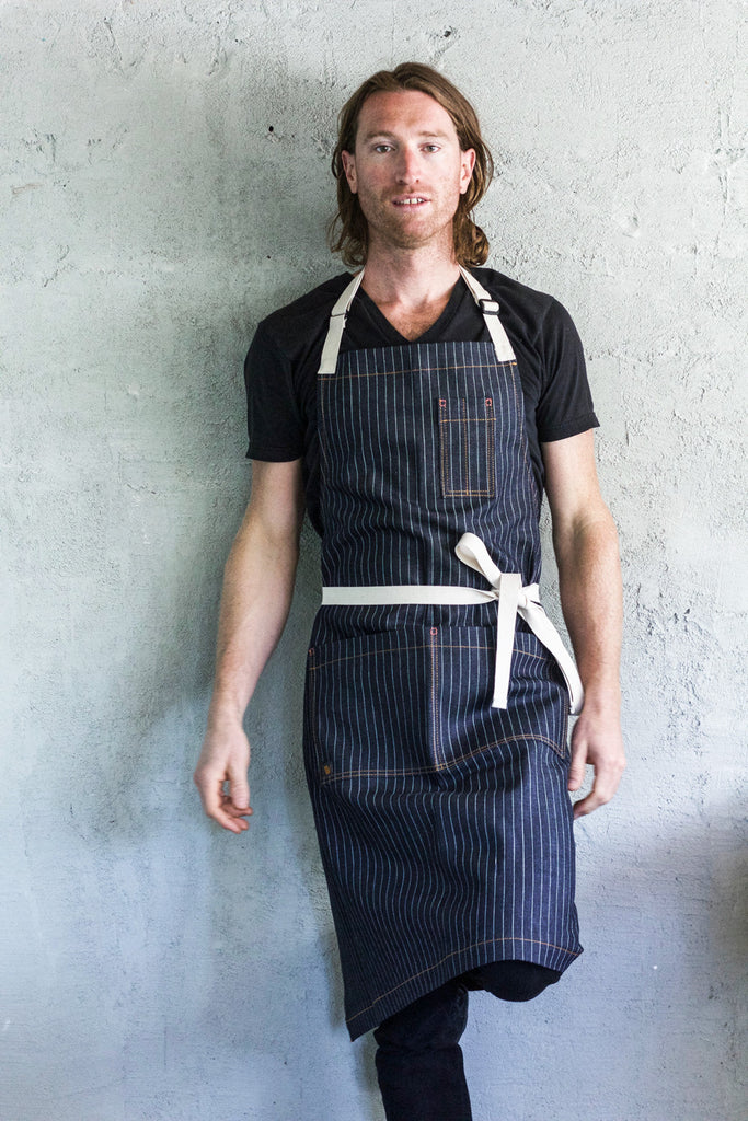 Oui Chef Apron -- Pin Striped Denim - Valentich