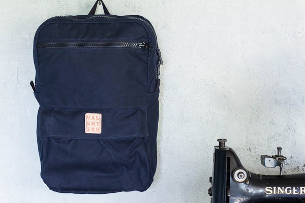 navy blue waxed canvas zipper backpack w/ laptop sleeve