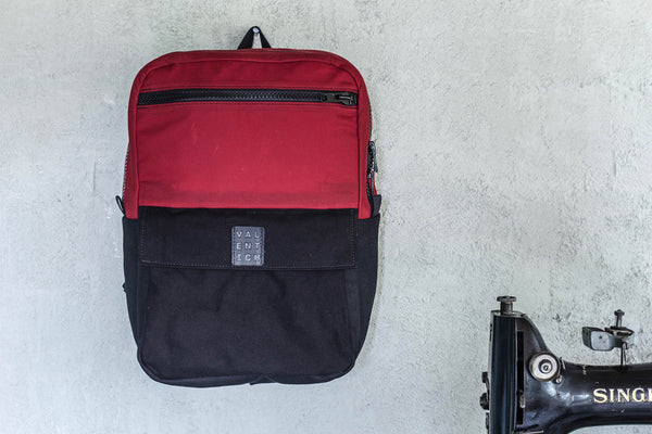 Red + Black Waxed Canvas Backpack