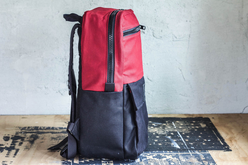 Red + Black Waxed Canvas Backpack - Valentich