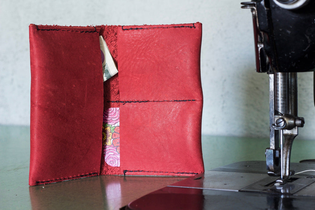 Leather Wallet Red - Valentich